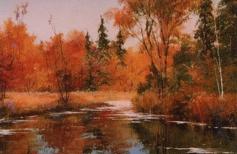 Осенний пейзаж маслом. Свободная копия.