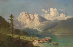 """Пейзаж """"Горное озеро"""" свободная копия по картине Эдмунда Хоттенрота"""