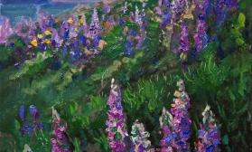 Закатный пейзаж на люпиновом поле