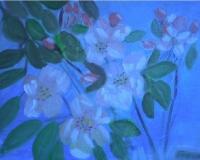 Яблоневый цвет,васильки и лилии