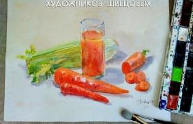 """Оранжевое настроение """"Морковь и морковный сок"""". Акварель с  натуры"""