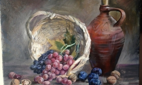 Натюрморт с вином и виноградом за 2 сеанса