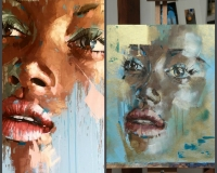 Запись урока с учеником «Портрет акрилом в стиле Pop Art»
