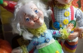 Тонировка и роспись личика фантазийной куклы