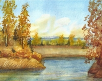 Осенний пейзаж из головы  (по МК С.Горбачёва,  акварель, А4)