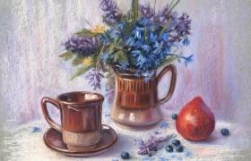 Нежный весенний натюрморт с первоцветами