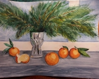 сосновая ветка с пятью мандаринами