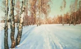 Зимний пейзаж с березками
