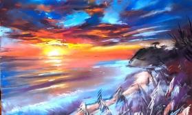 Морской закатный пейзаж