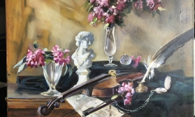 Натюрморт с цветами и бюстом