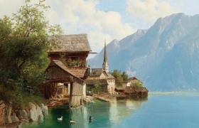 """Пейзаж """"Дома на берегу горного озера"""" свободная копия по картине Тома Жозефа"""