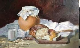 Деревенский натюрморт с  хлебом за 2 сеанса
