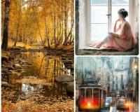 Комплект из 3-х мастер-классов: Девушка у окна + Осенний пейзаж+ Городской пейзаж с трамвайчиком