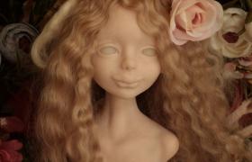 Кукла на проволочном каркасе из полимерной глины. Лепка головы
