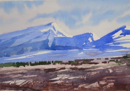 Рисуем горы акварелью за 7 минут