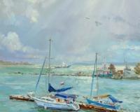 Морской пейзаж с яхтами