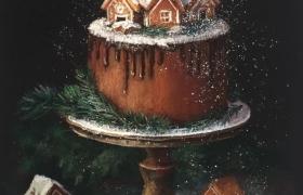 Стильный натюрморт на чёрном фоне «Новогодний торт»