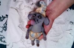 Текстильная кукла Крысеныш в колпаке в технике грунтованный текстиль