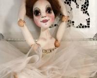 Текстильная шарнирная кукла-балерина