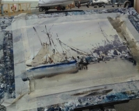 Пишем лодки в пейзаже акварелью