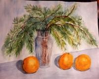 Сосновые ветки с апельсинами