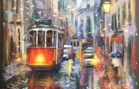 """Городской пейзаж """"за мокрым стеклом""""."""