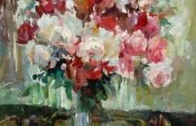 Натюрморт с  розами у окна