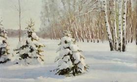 Зимний пейзаж с елками