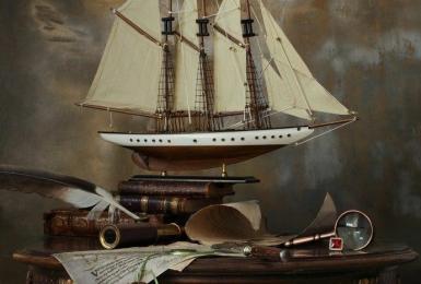 Атмосферный натюрморт с кораблем. 2 сеанс