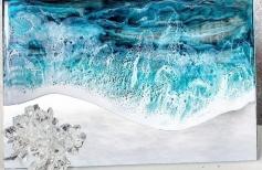 Декор зеркала. Рисуем море эпоксидной смолой