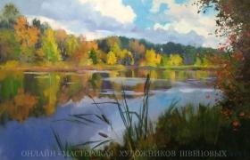 Осенний пейзаж с отражением за 2 сеанса