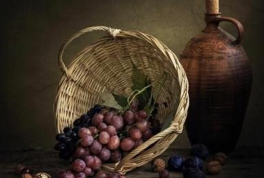 Двухсеансный натюрморт с виноградом. 2 урок