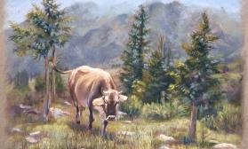 Горный пейзаж с коровой