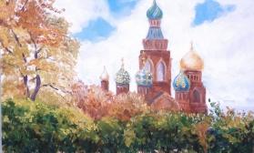 Осенний петербургский пейзаж с храмом Спас на Крови