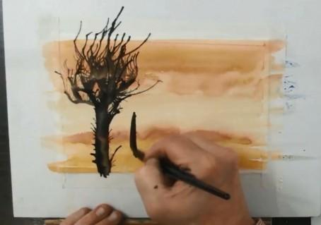 Рисуем деревья акварелью за 7 минут