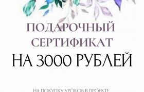 Подарочный сертификат на покупку мастер-классов по Живописи. Номинал 3000 т.р