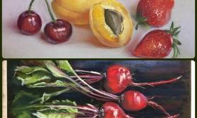 Овощи и фрукты в технике сухая пастель