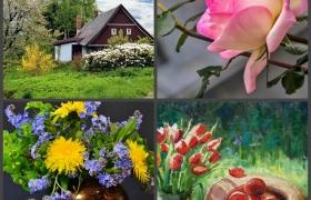 """Комплект майских мастер-классов: """"Домик у дороги"""" + """"Тюльпаны и яблоки"""" +""""Натюрморт с полевыми цветами""""+""""Бутоны роз. Белая, розовая, желтая"""""""