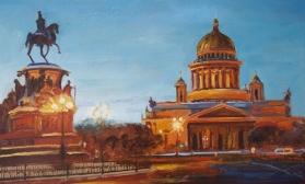 Вид на Исакиевский собор и памятник Николаю 1