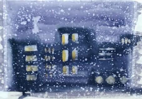 Рисуем ночной зимний город акварелью за 5 минут