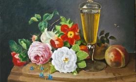 Натюрморт с цветами и фруктами по картине  Josef Lauer