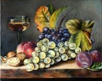 Натюрморт с фруктами и бокалом вина