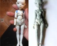 Блок №1.Создание шарнирной куклы из самозатвердевающей глины от Анны Трегубенковой. «Отверстия в голове и ее чистовая доработка,  вклейка шарниров и черновая сборка, грунтовка и покрытие лаком»