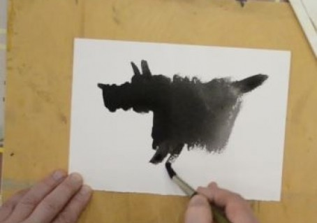 Рисуем собаку акварелью за 40 секунд