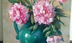 Розовый букет пионов