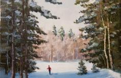 Зимний пейзаж маслом \