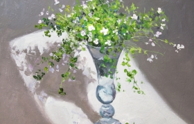 """Весенний натюрморт """"Цветы в прозрачной вазе"""""""