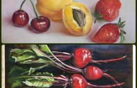 """Овощи и фрукты в технике """"сухая пастель"""""""