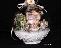 Новогодний шар с домиком внутри