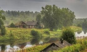 3 Урок курса. Пейзаж с деревенскими домиками